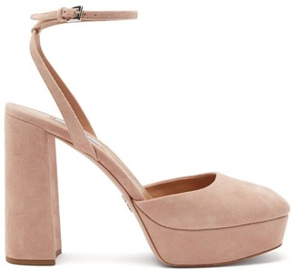Prada Square-toe Suede Platform Sandals - Nude