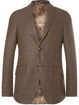 Etro Brown Slim-fit Checked Wool-blend Blazer - Brown
