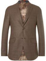 Etro Brown Slim-Fit Checked Wool-Blend Blazer