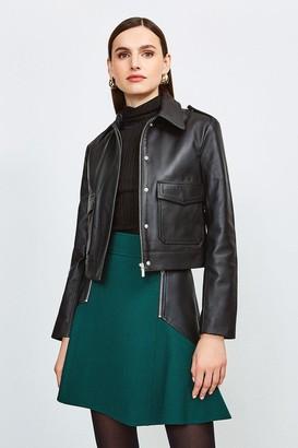 Karen Millen Leather Short Pocket Moto Jacket
