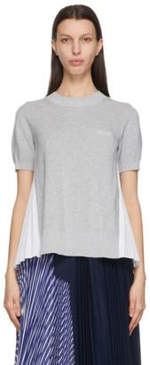Sacai Grey and White Pleated Back Short Sleeve Sweater