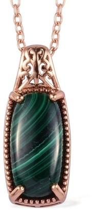 Shop LC 950C Platinum Malachite Pendant Necklace Size 20 Inches ctw 9 - Size 20''