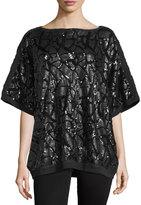 Misook Liza Sequined Dolman-Sleeve Tunic, Black