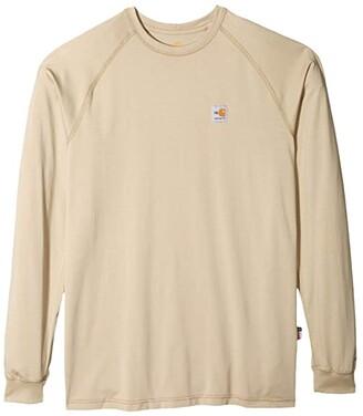 Carhartt Big Tall Flame-Resistant Force(r) Long Sleeve T-Shirt (Khaki) Men's Clothing
