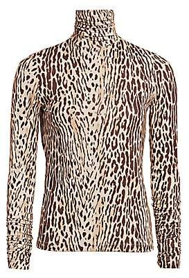 Zimmermann Women's Eye Spy Silk Leopard-Print Turtleneck Top