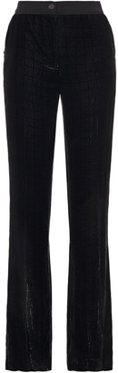 Akris Grosgrain-trimmed Devore-velvet Straight-leg Pants