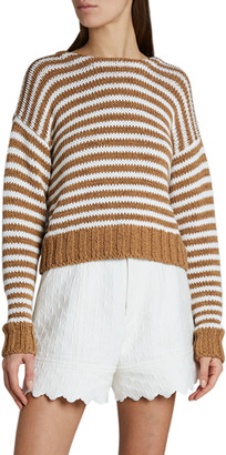 Chloé Striped Chunky Summer Knit Sweater w/ Lace-Up Back