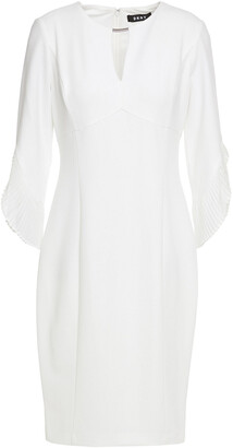 DKNY Pleated Chiffon-trimmed Stretch-crepe Dress