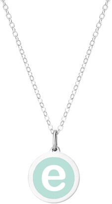 """Auburn Jewelry Mini Initial Pendant Necklace in Sterling Silver and Mint Enamel, 16"""" + 2"""" Extender"""