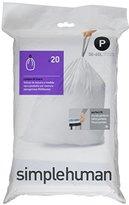 Simplehuman Code P Plastic Custom Fit Bin Liner, Pack of 20, White