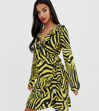 John Zack Petite ruffle wrap front midi tea dress in yellow zebra print