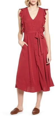 1 STATE Ruffle Tie Waist Midi Dress