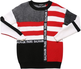 Balmain Virgin Wool Knit Sweater W/ Logo Band