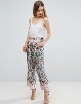Traffic People Mixed Print Wide Leg Pant