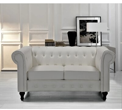 """Thumbnail for your product : Alcott Hill Sesco 61.02"""" Round Arm Chesterfield Loveseat Fabric: Cream White Faux Leather"""