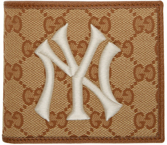 Gucci Beige and Brown NY Yankees Edition GG Patch Wallet