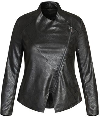 City Chic Sleek Waterfall Jacket - black
