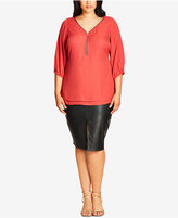 City Chic Trendy Plus Size Zip-Front Top
