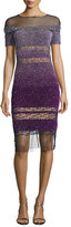 Pamella Roland Short-Sleeve Signature Ombre Sequin Dress, Purple