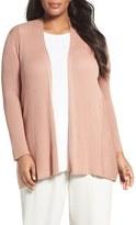 Eileen Fisher Ribbed Silk & Organic Cotton Cardigan (Plus Size)