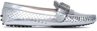 Tod's Studded Metallic Perforated Leather Loafers