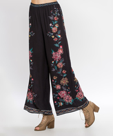 Flying Tomato Black Embroidered Flare Pants