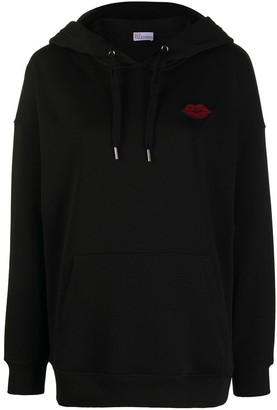 RED Valentino Lips-Embroidered Hoodie