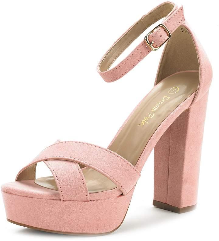 b04e0b9901b88 HI-GO New Women's Evening Dress Ankle Strap Buckle Peep Toe Chunky High  Heel Platform Pump Shoes Size 9.5