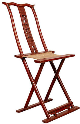 One Kings Lane Vintage Chinese Red Lacquered Folding Chair - FEA Home