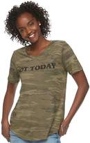 "Awake Juniors' Not Today"" Camo Graphic Tee"