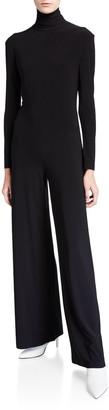 Norma Kamali Long-Sleeve Wide-Leg Turtleneck Jumpsuit