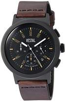 Vestal Quartz Stainless Steel and Leather Dress Watch, Color:Brown (Model: SLR44CL03.DBNK)