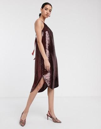 Soaked In Luxury sequin halter neck dress