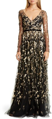 Marchesa Leaf Embroidered Long Sleeve Tulle Gown