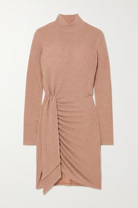 Reformation Paprika Wrap-effect Metallic Stretch-jersey Mini Dress - Gold