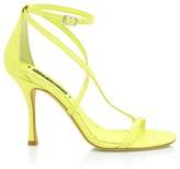 Alice + Olivia Deidra Lizard-Embossed Leather Sandals