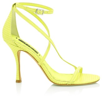 Alice + Olivia Deidra Lizard-Embossed Leather Sandals
