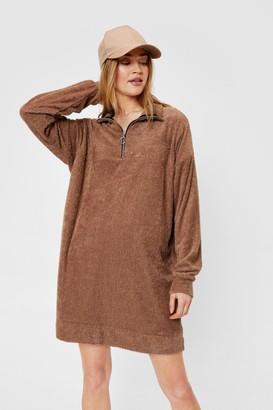 Nasty Gal Womens O-Ring Zip Towelling Mini Sweater Dress - Brown