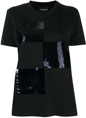 Emporio Armani sequin pattern logo T-shirt