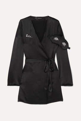 Morgan Lane - Lanie Embroidered Silk-satin Robe And Eye Mask Gift Set - Black
