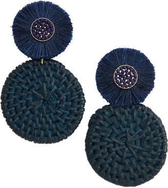 Vineyard Vines Basket Weave Fan Medallion Earrings