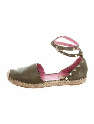Valentino Rockstud Accents Leather Espadrilles Green
