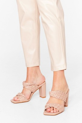 Nasty Gal Womens Square Are You Woven Heeled Mules - Beige - 5, Beige