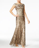 Tadashi Shoji Sequined Embroidered Cap-Sleeve Gown