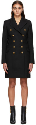 Balmain Black Wool Serge Double-Breasted Coat