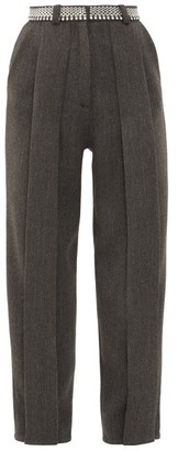 Christopher Kane Chain-belt Pleated Twill Trousers - Womens - Black