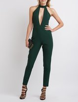 Charlotte Russe Mock Neck Plunging Cut-Out Jumpsuit