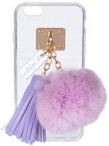 ashlyn'd Transparent iPhone 6 Case w/ Fur Pompom, Orchid