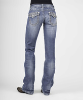Stetson Medium Light Blue Embellished Bootcut Jeans - Plus Too