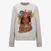 Bally Swizz Beatz Embroidered Sweatshirt Grey, Women's cotton sweatshirt in grey